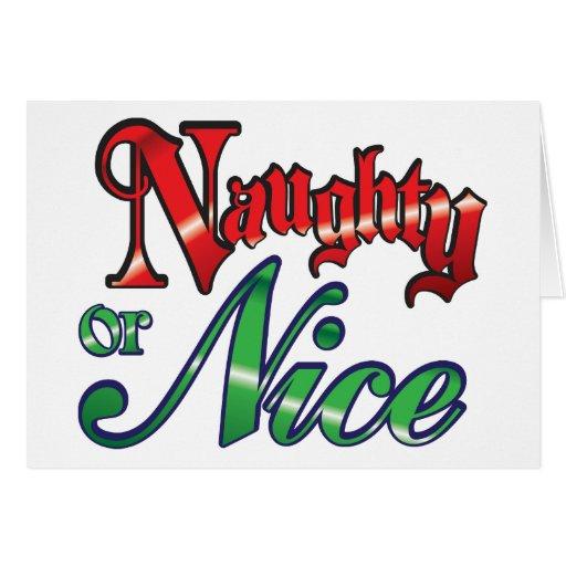 Letras verdes rojas retras del navidad, traviesas tarjeton
