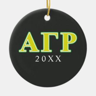 Letras verdes y amarillas de rho gamma alfa adorno navideño redondo de cerámica