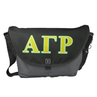 Letras verdes y amarillas de rho gamma alfa bolsas de mensajeria