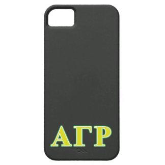 Letras verdes y amarillas de rho gamma alfa iPhone 5 coberturas