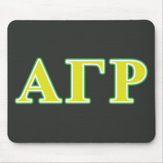 Letras verdes y amarillas de rho gamma alfa alfombrillas de raton