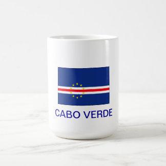 Letras y bandera de Cabo Verde de la taza