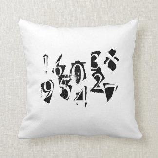 Letras y funda de almohada abstractas de los númer