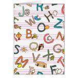 Letras y gráficos de la diversión del alfabeto tarjetón