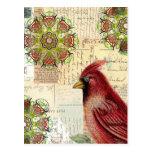 Letras y postales viejas de Collaged con el pájaro