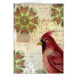 Letras y postales viejas de Collaged con el pájaro Tarjeta De Felicitación