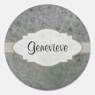 Letrero abstracto floral retro de la lavanda pegatina redonda