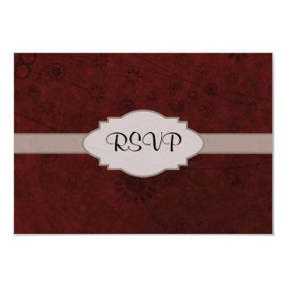 """Letrero abstracto floral retro del terciopelo rojo invitación 3.5"""" x 5"""""""