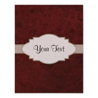 """Letrero abstracto floral retro del terciopelo rojo invitación 4.25"""" x 5.5"""""""