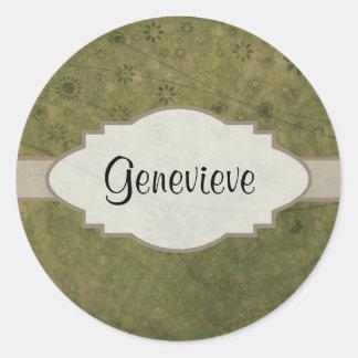Letrero abstracto floral retro del verde verde pegatina redonda
