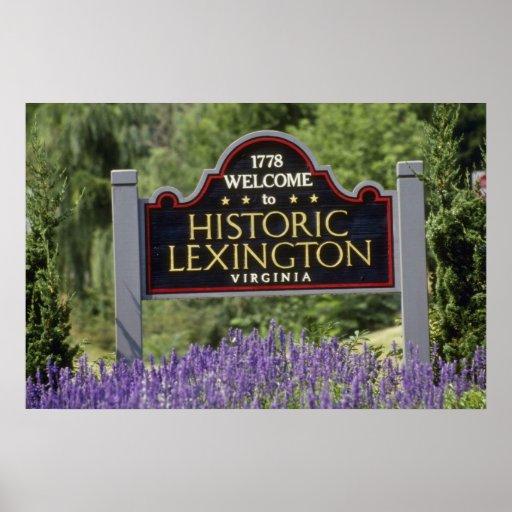 Letrero amarillo, flores históricas de Lexington Poster