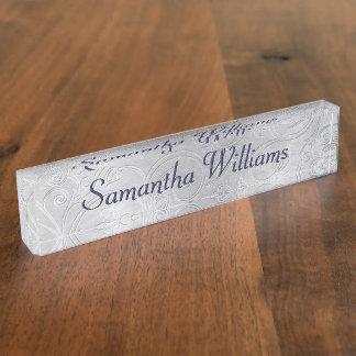 Letrero de encargo del escritorio del damasco de p