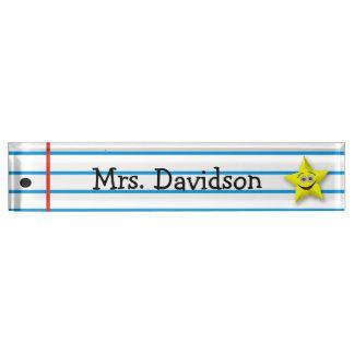 Letrero de encargo del escritorio del profesor cap