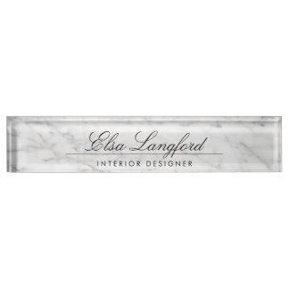 Letrero de lujo de mármol blanco moderno del