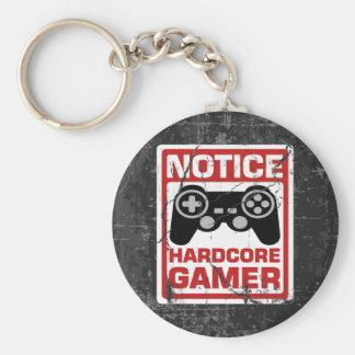 Letrero incondicional del aviso del videojugador llavero redondo tipo pin