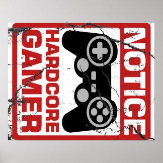 Letrero incondicional del aviso del videojugador póster