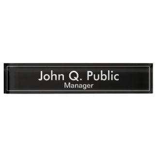 Letrero negro llano simple del escritorio