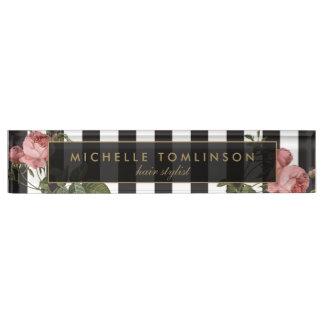 Letrero rayado floral del escritorio del vintage