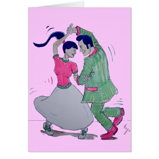 lets all do the twist swing dancers card