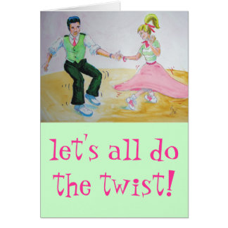 lets all do the twist swing dancers greeting card