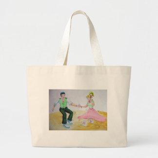 lets all do the twist swing dancers large tote bag