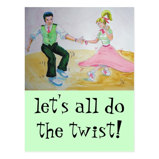 lets all do the twist swing dancers postcard
