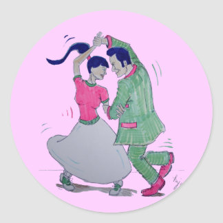 lets all do the twist swing dancers round stickers