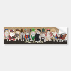 Let's All Get Along Funny Cats Bumper Sticker at Zazzle