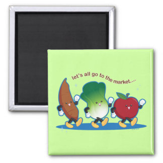 Let's All Go to the Market 2 Inch Square Magnet