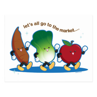 Let's All Go to the Market Postcard