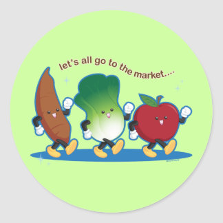 Let's All Go to the Market Round Sticker
