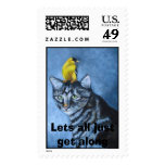Lets all just get along postage stamps