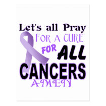 Let's All Pray For a Cure Cancer Awareness Apparel Postcard