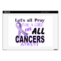 "Let's All Pray For a Cure Cancer Awareness Apparel Skins For 15"" Laptops"