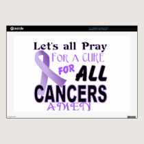 "Let's All Pray For a Cure Cancer Awareness Apparel Skins For 17"" Laptops"