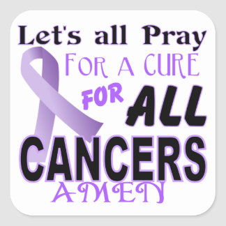Let's All Pray For a Cure Cancer Awareness Apparel Sticker