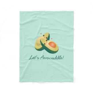 Let's Avocuddle Funny Cute Avocados Pun Humor Fleece Blanket