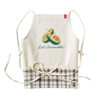 Let's Avocuddle Funny Cute Avocados Pun Humor Zazzle HEART Apron