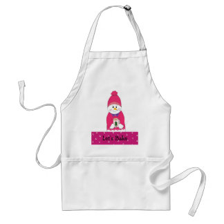 Let's Bake Girl Snowman in Pink Adult Apron
