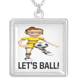 Lets Ball Square Pendant Necklace