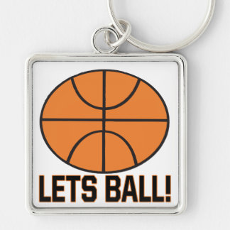 Lets Ball Silver-Colored Square Keychain