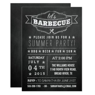 Let's BBQ! Chalkboard Typography Summer Party Card