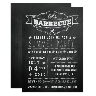 Let's Bbq! Chalkboard Typography Summer Party Card at Zazzle
