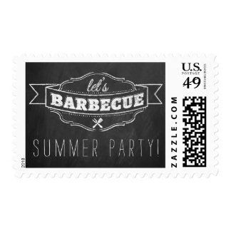 Let's BBQ! Chalkboard Typography Summer Party Postage Stamp