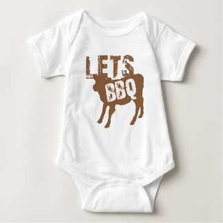 Let's BBQ! with cute little cow Baby Bodysuit