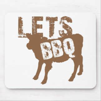 Let's BBQ! with cute little cow Mouse Pad