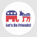 Let's Be Friends! Round Stickers