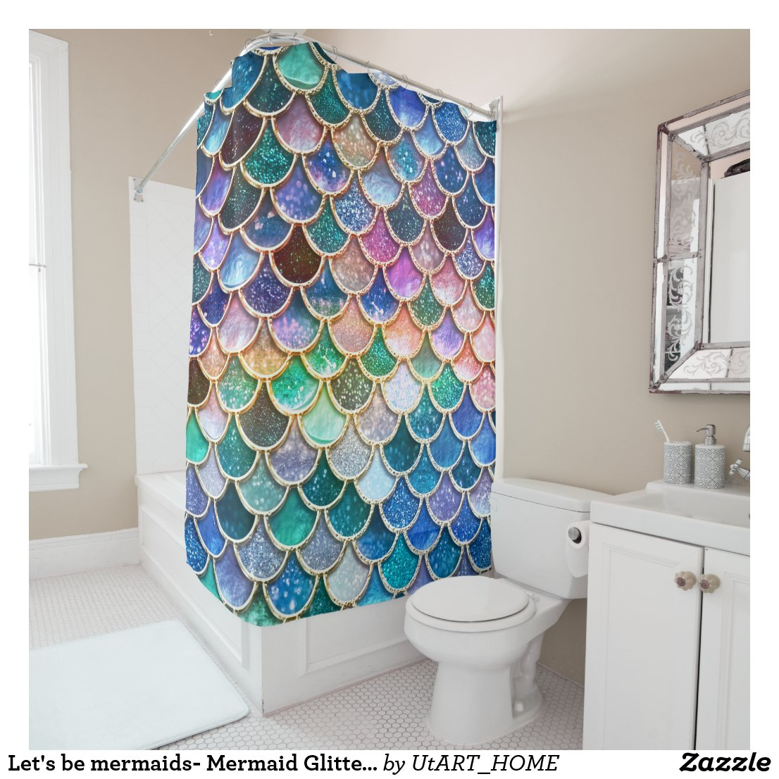 Let's be mermaids- Mermaid Glitter- Mermaid Scales Shower Curtain