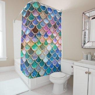Let's be mermaids- Mermaid Glitter- Mermaid Scales Shower Curtain