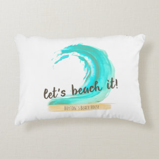 "Let's Beach It! Brushed Accent Pillow 16"" x 12"""